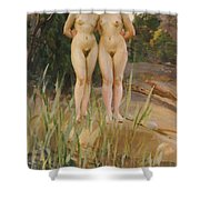 Two Friends  Shower Curtain by Anders Leonard Zorn