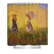 Two Friends Walking In The Field Shower Curtain