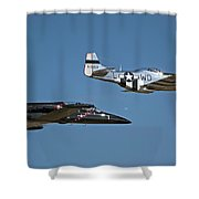 Two Generations Of Aircraft Shower Curtain