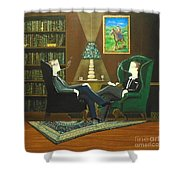 Two Gentlemen Sitting In Wingback Chairs At Private Club Shower Curtain