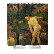 Two Girls Bathing 1887 Shower Curtain