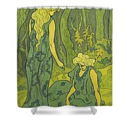 Two Girls Next To The Head Of Orpheus Shower Curtain
