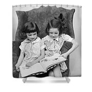 Two Girls Reading A Book, C.1920-30s Shower Curtain