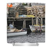 two girls swimming in the Atlantic Ocean Shower Curtain