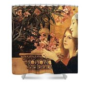 Two Girls With An Oleander Shower Curtain