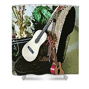 Two Guitars On A Shoe Chair Shower Curtain