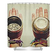 Two Hands Holding And Showing Both Sides Of Decorated Tibetan Singing Bowls Shower Curtain