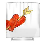 Two Hearts   Arrow Shower Curtain