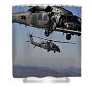 Two Hh-60 Pave Hawk Helicopters Prepare Shower Curtain
