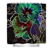 Two Hibiscus Glowing Edges Abstract Shower Curtain