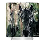 Two Horses In Greens Shower Curtain