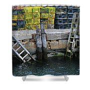 Two Ladders At High Tide Shower Curtain