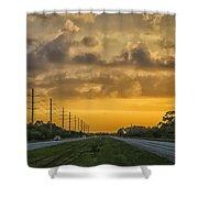 Two Lane Sunset Shower Curtain