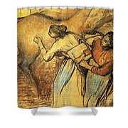 Two Laundresses With A Horse Shower Curtain