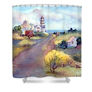 Two Lights In Cape Elizabeth Maine Shower Curtain