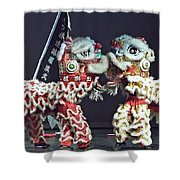 Two Lions Kung Fu Club Shower Curtain