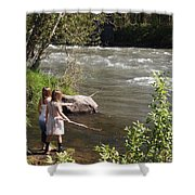 Two Little Girls Playing By The River Shower Curtain