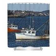 Two Lobster Boats Shower Curtain