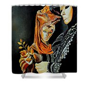 Two Masks In Venice  Shower Curtain