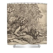 Two Mastiffs Beside A Fountain Shower Curtain
