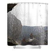 Two Men Exploring Tar Creek Waterfalls Shower Curtain