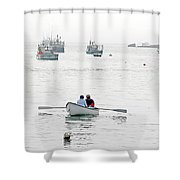 Two Men In A Dinghy Shower Curtain