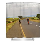 Two Men Riding Bicycle In Tanzania Shower Curtain
