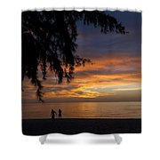 Two Men Walking On Sunset Shower Curtain