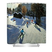 Two Mountain Huts Shower Curtain