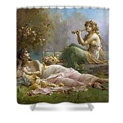 Two Nymphs By The Water Hans Zatzka Shower Curtain