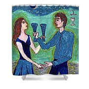 Two Of Cups Illustrated Shower Curtain