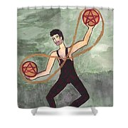 Two Of Pentacles Illustrated Shower Curtain