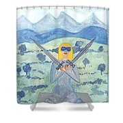 Two Of Swords Illustrated Shower Curtain