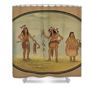 Two Ojibbeway Warriors And A Woman Shower Curtain