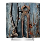 Two Old Rusty Pliers Shower Curtain