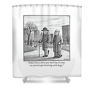 Two Older Men Walk With Canes Through A Park. Shower Curtain