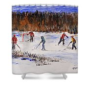 Two On Two On The Frozen Pond Shower Curtain