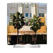 Two Palms Art Deco Building Shower Curtain