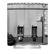 Two Pay Phones Shower Curtain
