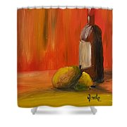 Two Pears And Merlot  Shower Curtain by Steve Jorde