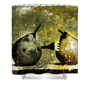 Two Pears Pierced By A Fork. Shower Curtain