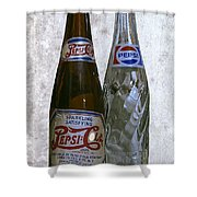 Two Pepsi Bottles On A Table Shower Curtain by Daniel Hagerman