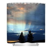 Two-pine Sunset Shower Curtain