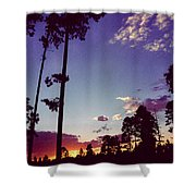 Two Pines Sunset Shower Curtain
