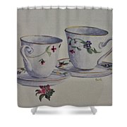 Two Pretty Teacups Shower Curtain