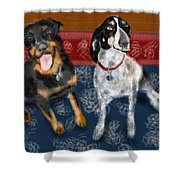 Two Pups On A Persian Carpet Shower Curtain