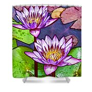 Two Purple Lotus Flower Shower Curtain