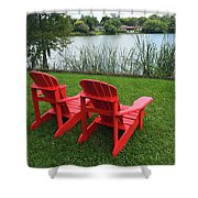 Two Red Chairs Overlooking Lake Formosa Shower Curtain