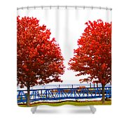 Two Red Trees Shower Curtain