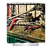 Two Red Wrenches On Plumber's Workbench Shower Curtain